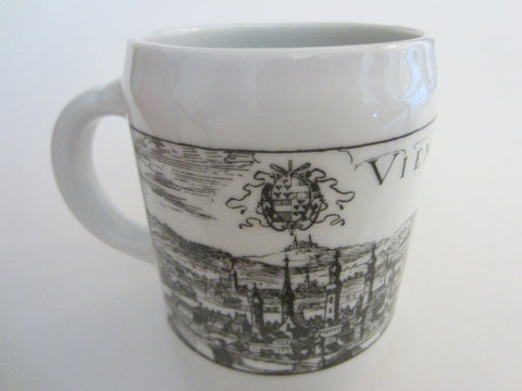 Vienna Austria Muller Co Linz Coffee Mug Black on White Panoramic City View - Designer Unique Finds