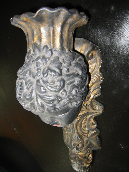 Italian Bust Wall Sconce Charcoal Gold Decorated Black Portrait Candle Holder - Designer Unique Finds   - 11