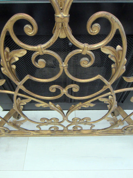 Acanthus Leaf Metal Tole Fireplace Screen Scrolled Crest