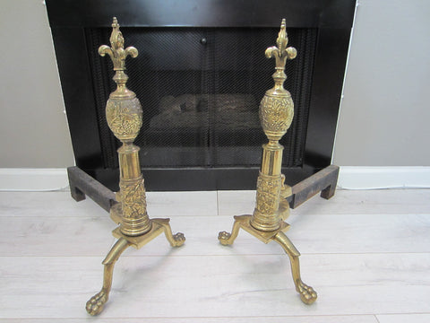 French Claw Foot Brass Andirons Late 18th Century Fleur D Elise - Designer Unique Finds