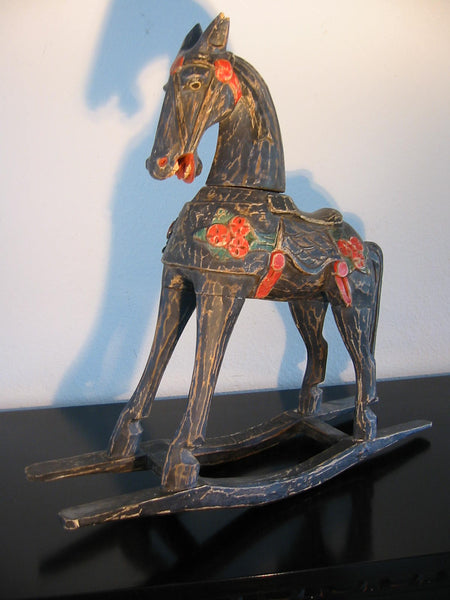 Christmas Rocking Horse Hand Decorated Painted Distressed Sculpture - Designer Unique Finds