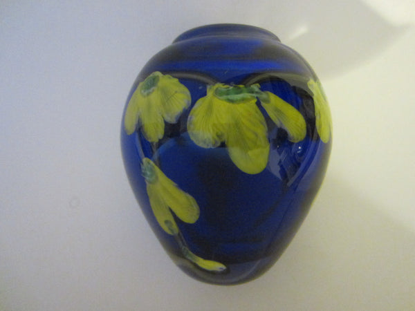 Deep Blue Blown Vase Infused Yellow Glass Flowers