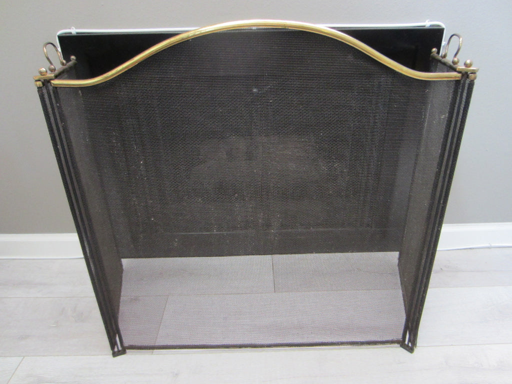 Fireplace Mesh Screen Tri Fold Brass Frames Two Handles - Designer Unique Finds