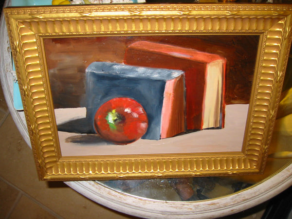 Still Life Red Apple And Books Oil On Panel - Designer Unique Finds
