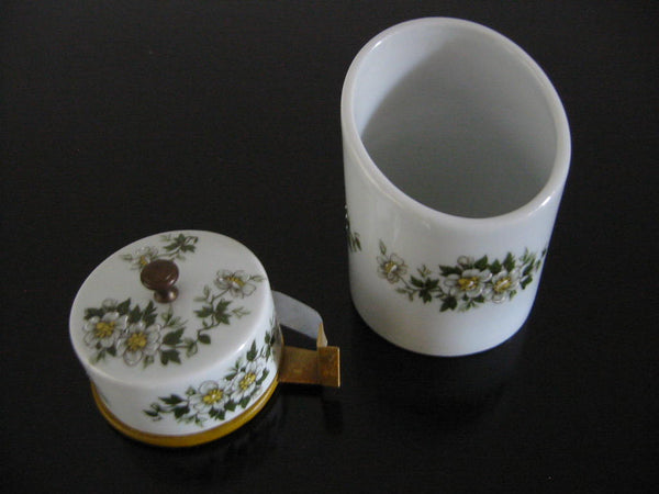 Porcelain Artistique F M Limoges France Brass Floral Enameling Desk Set - Designer Unique Finds   - 3