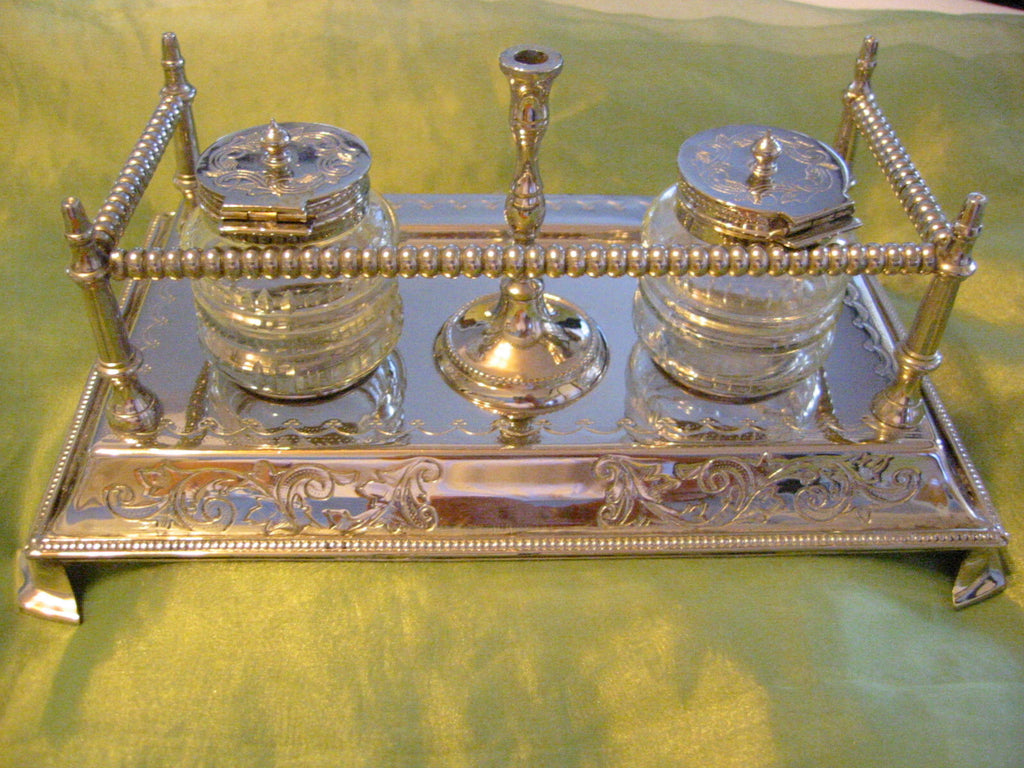 Crystal Inkwells Silver Tray Footed Candle Stand Pen Holder - Designer Unique Finds