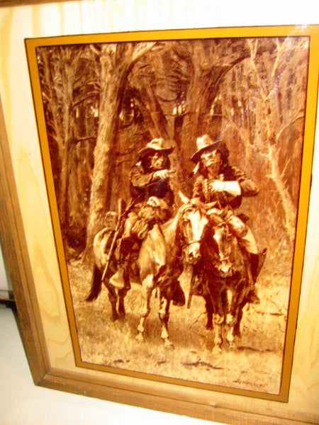 Attributed Remington Equestrian Cowboy Indian Reverse Glass Painted Art - Designer Unique Finds   - 2