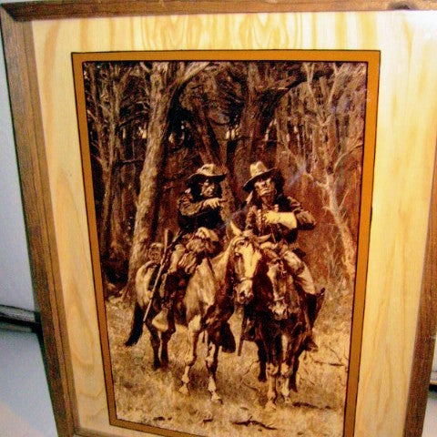 Remington Attribute Cowboy Indian In Shadow Box Signed Impressionist Equestrian Art