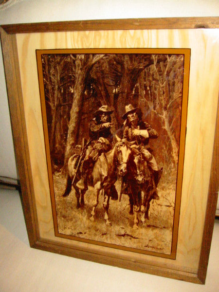Attributed Remington Equestrian Cowboy Indian Reverse Glass Painted Art - Designer Unique Finds   - 1