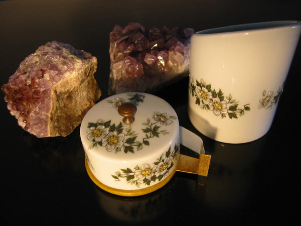 Porcelain Artistique F M Limoges France Brass Floral Enameling Desk Set - Designer Unique Finds   - 1