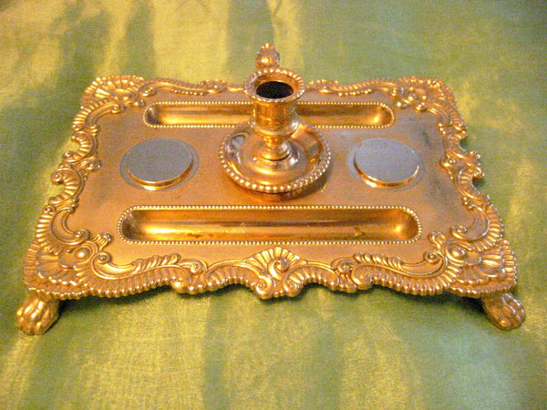 Brass Candle Tray Claw Foot A Symmetric Letter Seal With Hallmarks - Designer Unique Finds   - 1