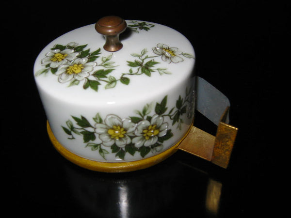 Porcelain Artistique F M Limoges France Brass Floral Enameling Desk Set - Designer Unique Finds   - 6
