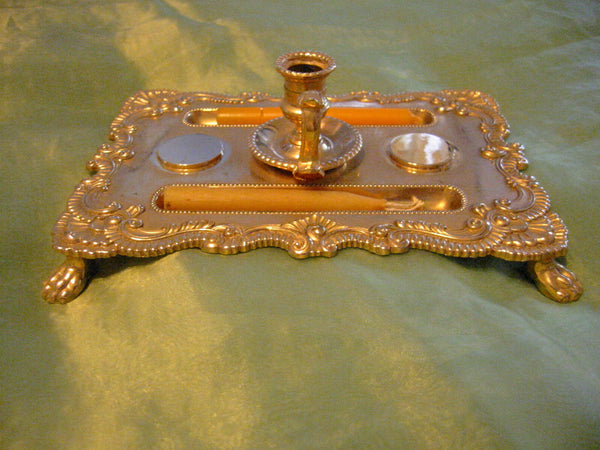 Brass Candle Tray Claw Foot A Symmetric Letter Seal With Hallmarks - Designer Unique Finds   - 2