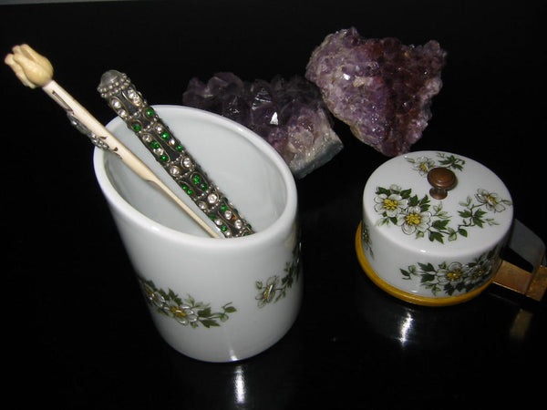 Porcelain Artistique F M Limoges France Brass Floral Enameling Desk Set - Designer Unique Finds   - 2