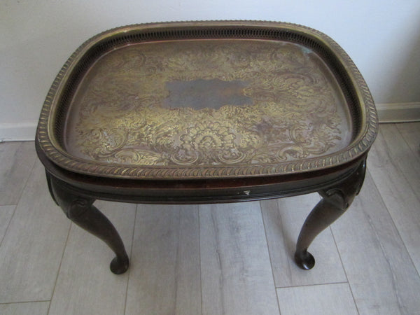 Colonial English Mahogany Brass Serving Tray Table - Designer Unique Finds   - 1