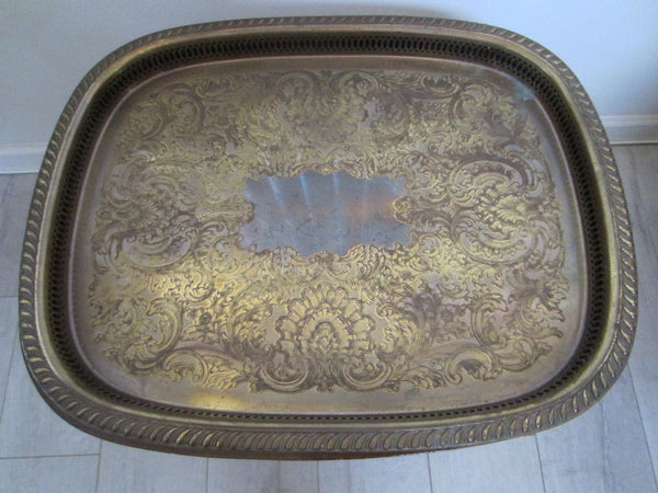 Colonial English Mahogany Brass Serving Tray Table - Designer Unique Finds   - 2