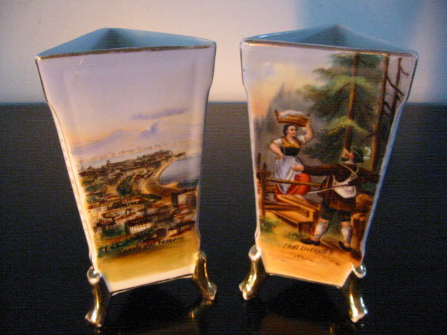 Panoramic Naples Italy Porcelain Vases Hand Painted Gilt Footed Scripted - Designer Unique Finds