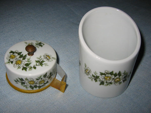 Porcelain Artistique F M Limoges France Brass Floral Enameling Desk Set - Designer Unique Finds   - 5