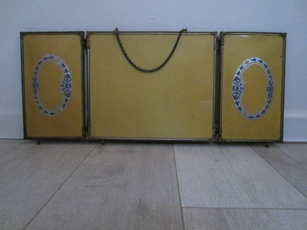 Trifold Travel Beveled Mirrors Bronze Celluloid Silver Painted Medallions - Designer Unique Finds   - 1