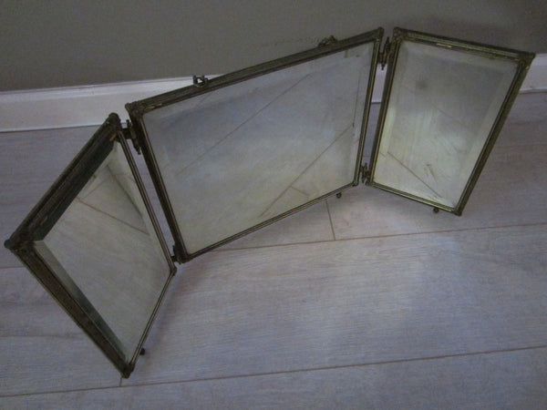 Trifold Travel Beveled Mirrors Bronze Celluloid Silver Painted Medallions - Designer Unique Finds   - 3