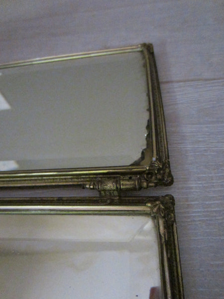 Trifold Travel Beveled Mirrors Bronze Celluloid Silver Painted Medallions - Designer Unique Finds   - 7