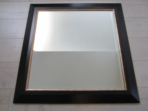 Contemporary Black Wood Beveled Mirror Decorated Gilt - Designer Unique Finds   - 1
