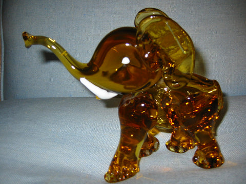 Amber Glass Hand Blwon Elephant Milky Tusks Sculpture - Designer Unique Finds   - 1