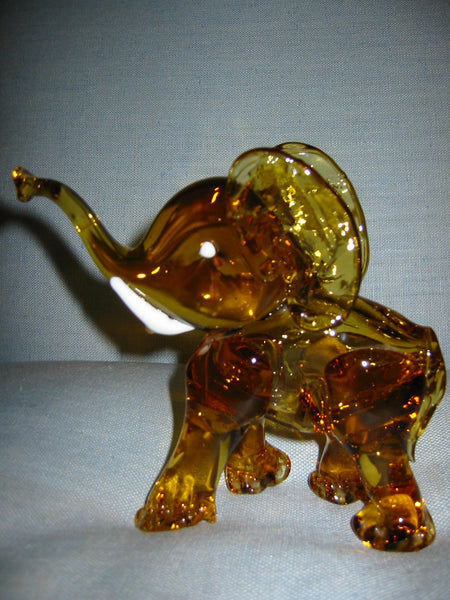 Amber Glass Hand Blwon Elephant Milky Tusks Sculpture - Designer Unique Finds   - 2