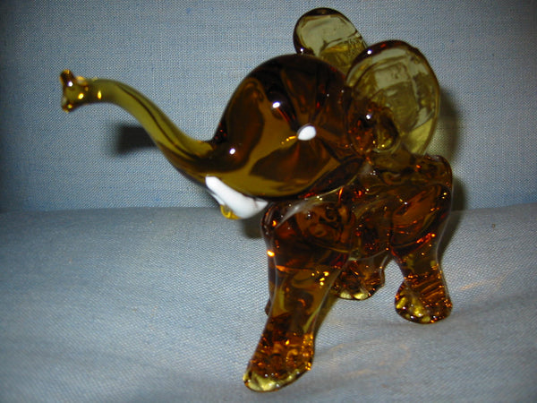 Amber Glass Hand Blwon Elephant Milky Tusks Sculpture - Designer Unique Finds   - 3