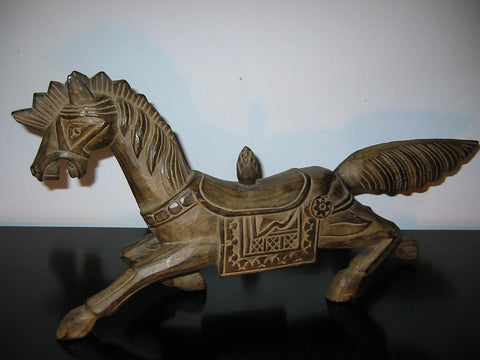 Wild Running Horse Wood Carving Folk Art Equestrian Sculpture - Designer Unique Finds   - 1
