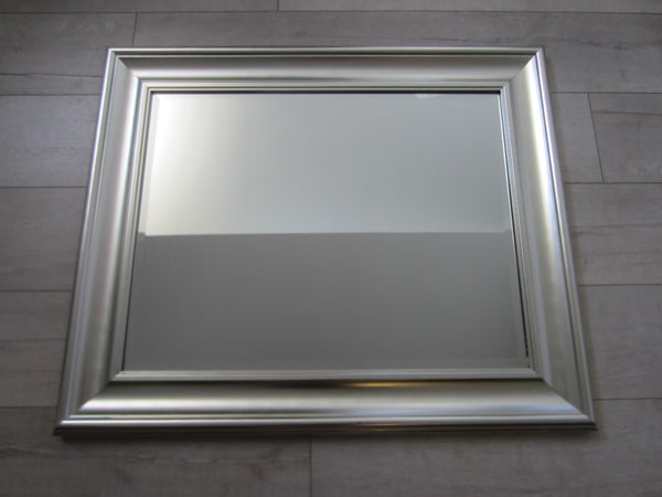 Contemporary Silver Painted Wood Modern Beveled Mirror - Designer Unique Finds   - 1