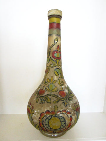 Capri Italy Glass Decanter Metal Cap Hand Painted Numbered - Designer Unique Finds