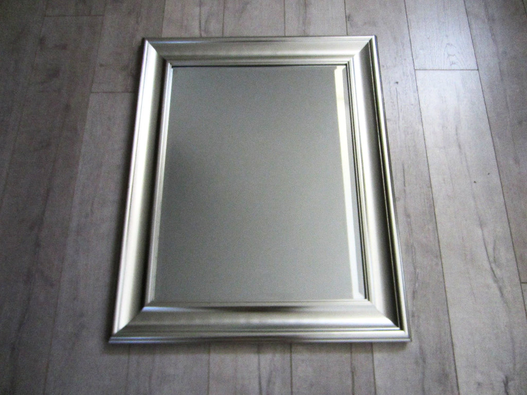Contemporary Silver Painted Wood Modern Beveled Mirror - Designer Unique Finds   - 3