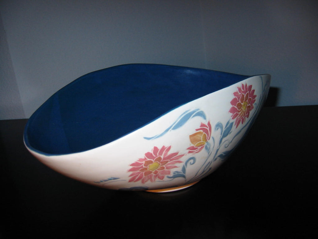Deserma Ceramic Bowl Evelyn Gilmore Tuscon Blue Interior Pink Flowers - Designer Unique Finds   - 1