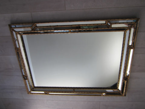 Bamboo Design Gilt Wood Composition Mirror - Designer Unique Finds