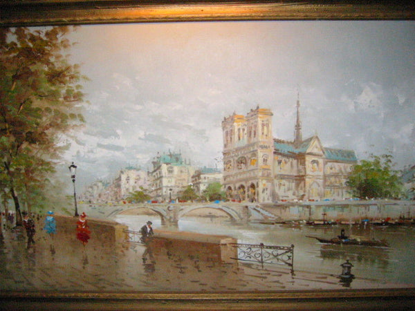 DeVitty Impressionist Boulevard Along The River Seine Notredame Oil On Canvas - Designer Unique Finds   - 7