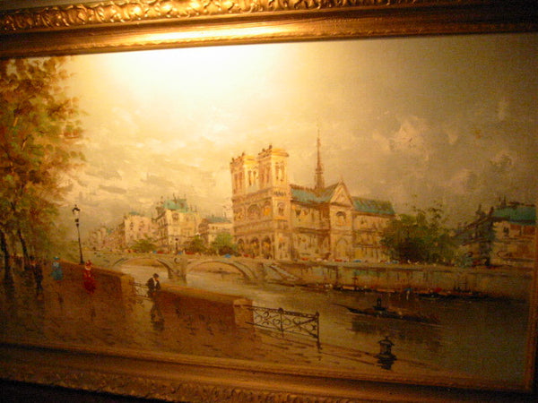 DeVitty Impressionist Boulevard Along The River Seine Notredame Oil On Canvas - Designer Unique Finds   - 10