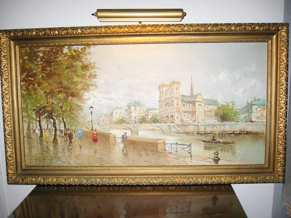 DeVitty Impressionist Boulevard Along The River Seine Notredame Oil On Canvas - Designer Unique Finds   - 2