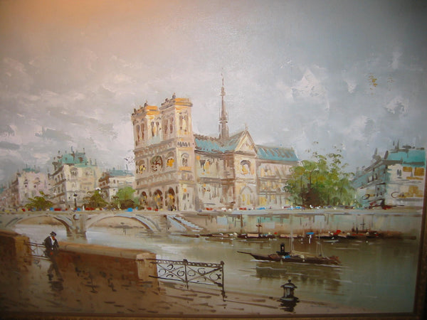 DeVitty Impressionist Boulevard Along The River Seine Notredame Oil On Canvas - Designer Unique Finds   - 1