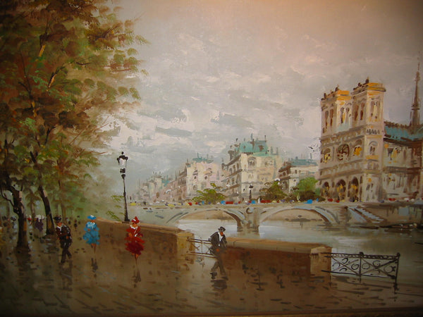 DeVitty Impressionist Boulevard Along The River Seine Notredame Oil On Canvas - Designer Unique Finds   - 12