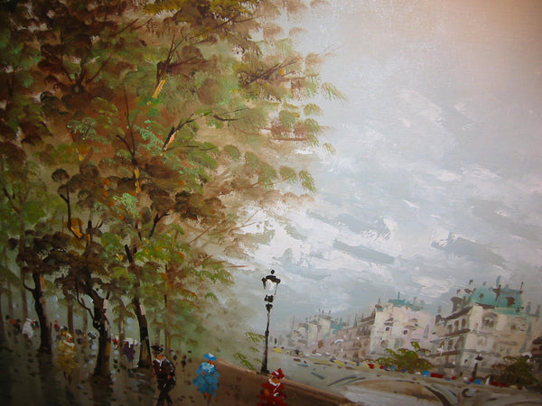 DeVitty Impressionist Boulevard Along The River Seine Notredame Oil On Canvas - Designer Unique Finds   - 6