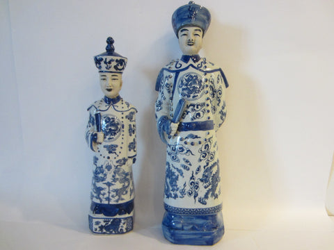 Asian Blue White Transferred Ceramic Male Female Figures With Signature