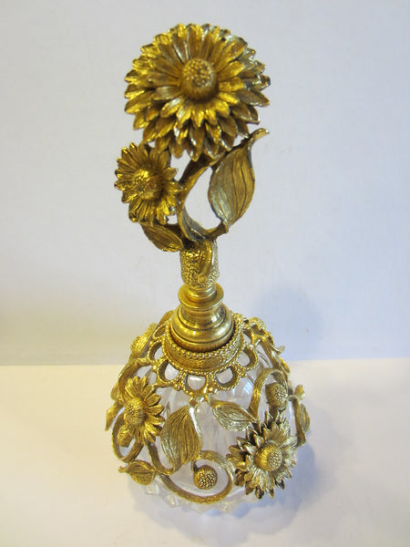 Matson Ormolu Signed Perfume Bottle Daisy Flower Cut Crystal - Designer Unique Finds   - 3