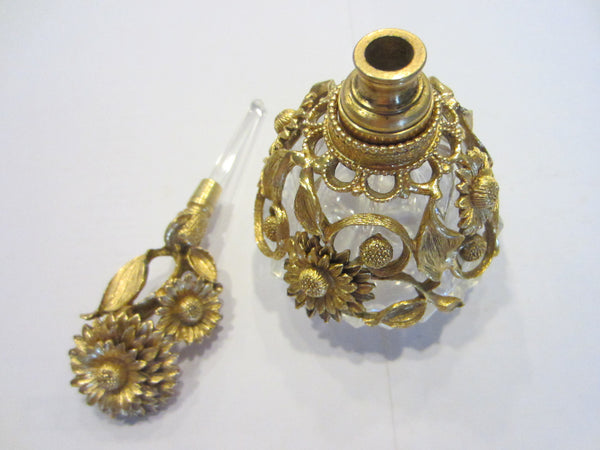 Matson Ormolu Signed Perfume Bottle Daisy Flower Cut Crystal - Designer Unique Finds   - 2