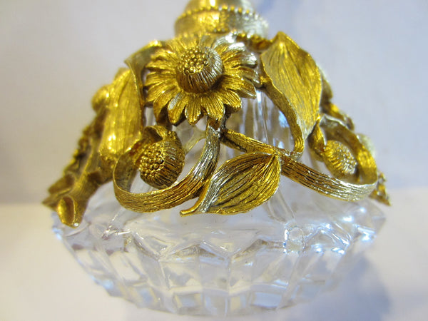 Matson Ormolu Signed Perfume Bottle Daisy Flower Cut Crystal - Designer Unique Finds   - 5
