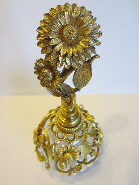 Matson Ormolu Signed Perfume Bottle Daisy Flower Cut Crystal - Designer Unique Finds   - 6