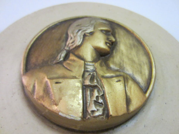 Chalkware Gilt Musician Portrait Icon Wall Plaque - Designer Unique Finds   - 3