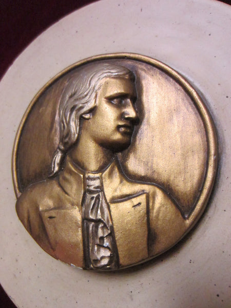 Chalkware Gilt Musician Portrait Icon Wall Plaque - Designer Unique Finds   - 2
