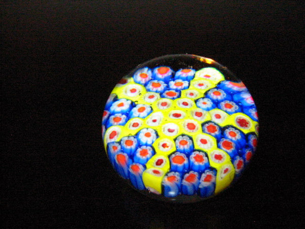Murano Paperweight Star Blown Millefiori Glass Flowers - Designer Unique Finds