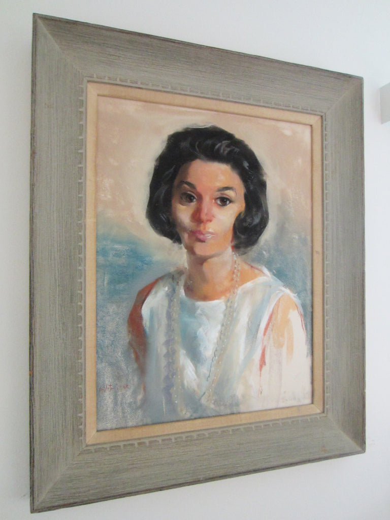 Mid Century Woman Portrait Mid Century Oil On Canvas Signed Dated Velletri 64 - Designer Unique Finds